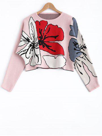 Discount Flower Pattern Long Sleeves Sweater