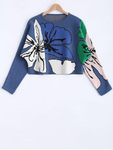 Flower Pattern Long Sleeves Sweater - Blue - One Size