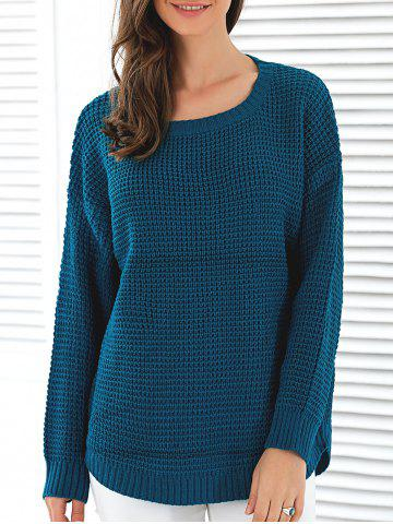 Trendy Loose Fit Pullover Sweater PEACOCK BLUE ONE SIZE