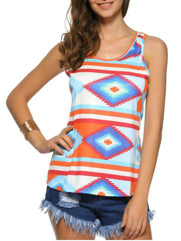 Geometric Color Block Print Racerback Tank Top - Colormix - L