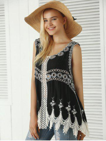 New Bohemian Embroidered Crochet Fringed Tank Top - ONE SIZE BLACK Mobile
