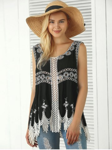 Outfits Bohemian Embroidered Crochet Fringed Tank Top - ONE SIZE BLACK Mobile
