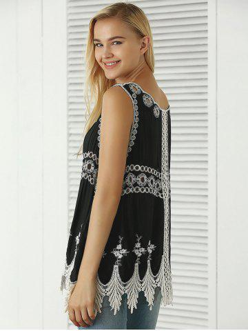 Cheap Bohemian Embroidered Crochet Fringed Tank Top - ONE SIZE BLACK Mobile