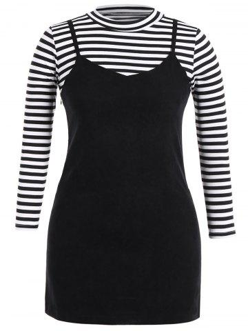 Chic Plus Size Stripe Long Sleeve T-Shirt and Cami Dress Twinset
