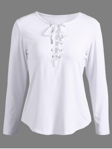 Chic Lace-Up Long Sleeve T-Shirt WHITE XL