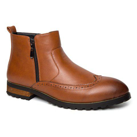 Online Engraving Point Toe Zipper Side Boots - 42 BROWN Mobile