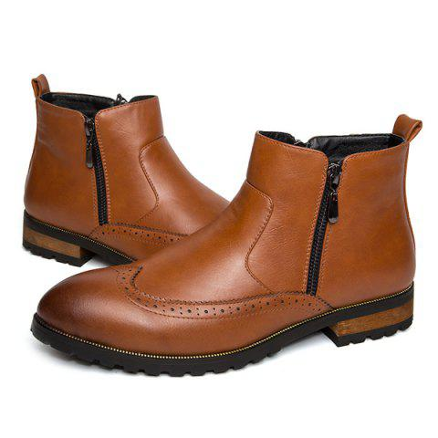 Unique Engraving Point Toe Zipper Side Boots - 42 BROWN Mobile