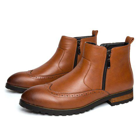 Shop Engraving Point Toe Zipper Side Boots - 42 BROWN Mobile