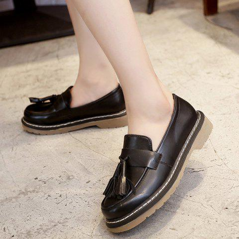 Trendy Vintage Round Toe Tassel Flat Shoes - 38 BLACK Mobile