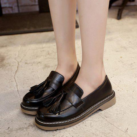 Fancy Vintage Round Toe Tassel Flat Shoes - 38 BLACK Mobile
