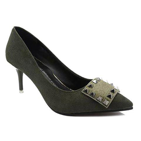 Fancy Pointed Toe Rivet Suede Pumps ARMY GREEN 39