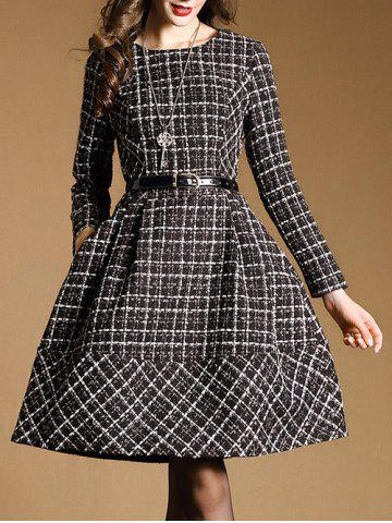 Belted Checked Skater Dress with Sleeves - Black - L