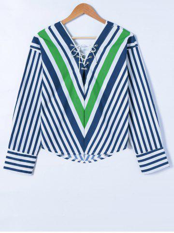Online Striped Lace-Up Blouse