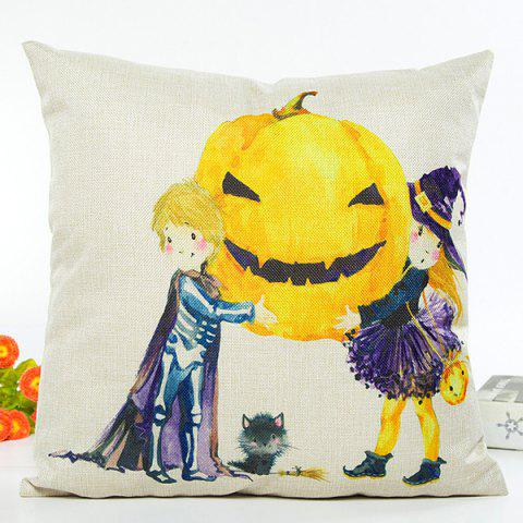 Unique Home Decor Halloween Witch Pumpkin Cartoon Cushion Pillow Case BEIGE