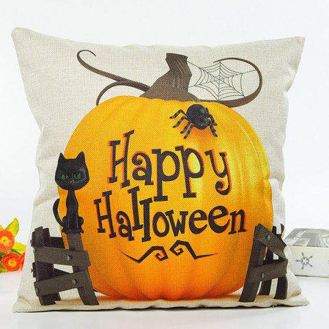 Shops Happy Halloween Letter Pumpkin Cat Design Cushion Pillow Case BEIGE