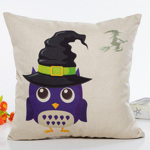 Halloween Owl Witch Hat Pattern Sofa Cushion Pillow Case - BEIGE