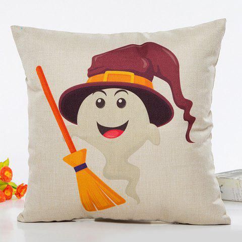 Trendy Halloween Ghost Witch Besom Cartoon Home Decorative Pillow Case