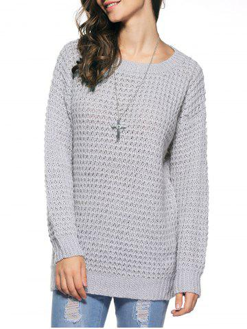 Outfit Long Sleeve Loose Sweater GRAY ONE SIZE