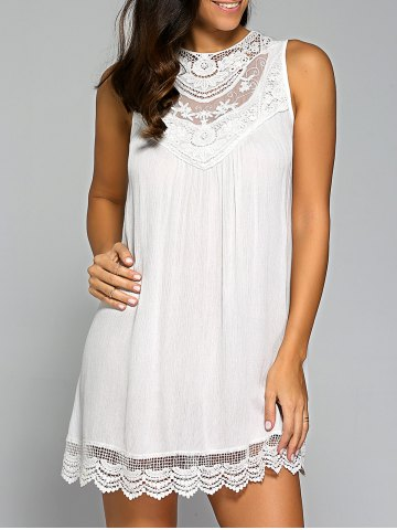 Affordable Sleeveless Lace Patchwork Smock Dress