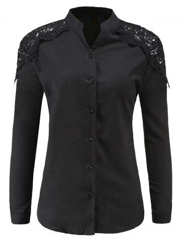 Outfit Lace Splicing Shoulder Shirt