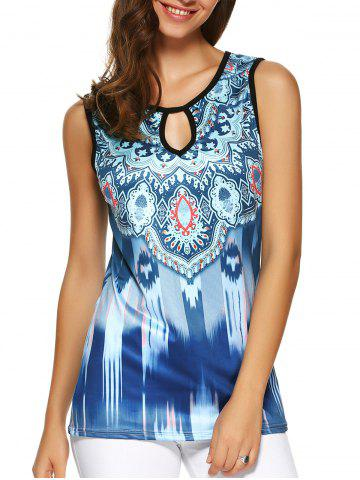 Buy Tribal Print Hollow Out Open Back Tank Top