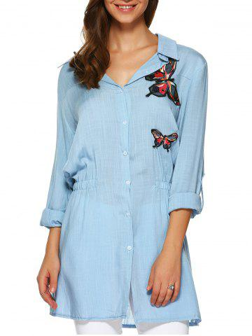 Discount Butterfly Applique Elastic Waist Long Shirt
