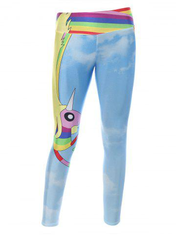 Fancy Cartoon Adventure Time Print Skinny Gym Leggings