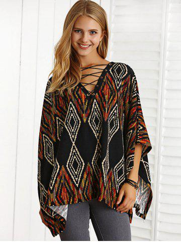 New Bohemian Lace-Up  Argyle Cape Blouse