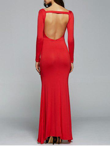 Trendy Open Back Maxi Long Sleeves Bodycon Prom Evening Dress