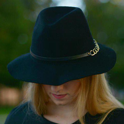 Outfits Hollow Out Chain Strappy Embellished Felt Jazz Hat - BLACK  Mobile