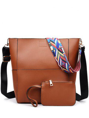 Fancy PU Leather Print Strap Stitching Crossbody Bag - BROWN  Mobile