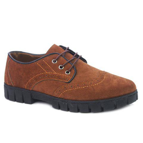 Discount Suede Engraving Tie Up Casual Shoes