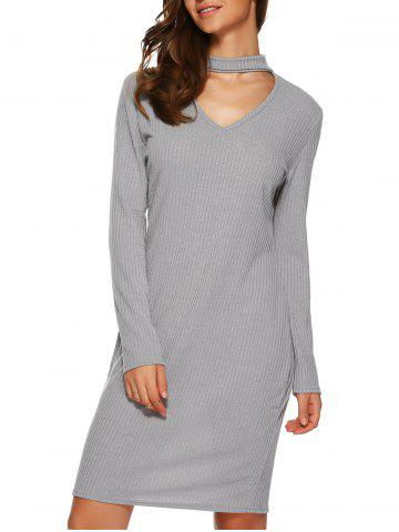 Discount Long Sleeve Knitted Bodycon Dress