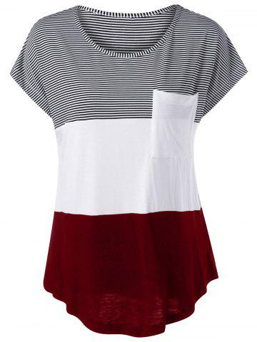 Color Block Asymmetrical T-Shirt - Black And White And Red - M