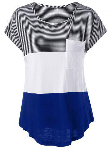 Color Block Asymmetrical T-Shirt - White And Blue And Black - L