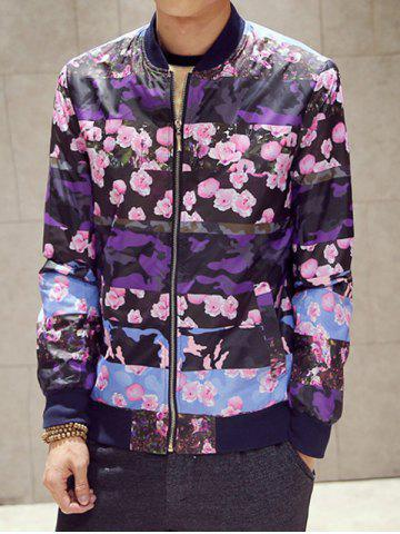 Outfit Rib Spliced Flower and Camo Printed Jacket PURPLE 4XL