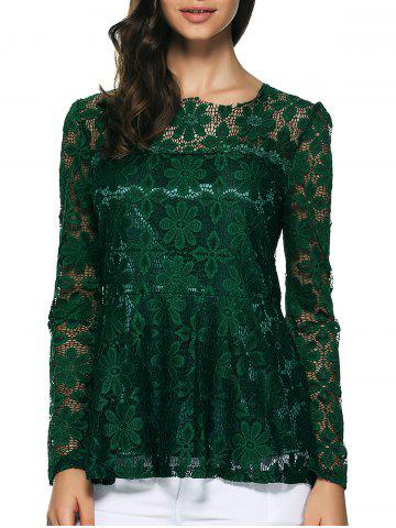 Store Pullover Lace Peplum Blouse GREEN S