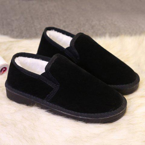 Hot Dark Color Elastic Band Flock Flat Shoes BLACK 41