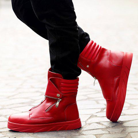 Latest Snap Double Zipper Stitching Casual Shoes - 43 RED Mobile