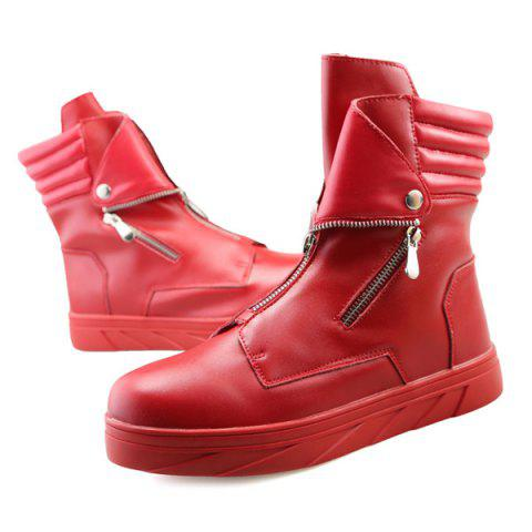 Affordable Snap Double Zipper Stitching Casual Shoes - 43 RED Mobile