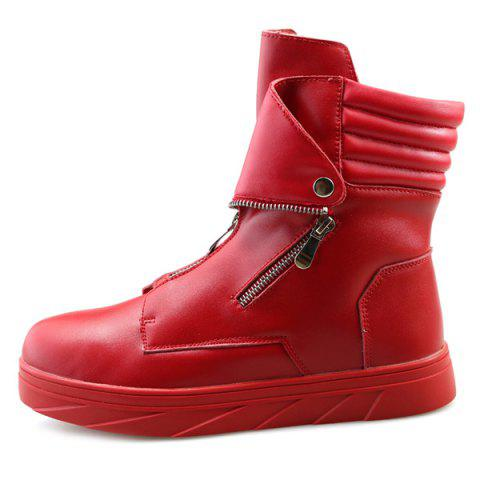 New Snap Double Zipper Stitching Casual Shoes - 43 RED Mobile