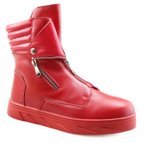 Latest Snap Double Zipper Stitching Casual Shoes RED 44