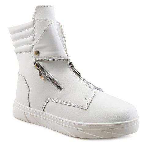 Buy Snap Double Zipper Stitching Casual Shoes WHITE 43