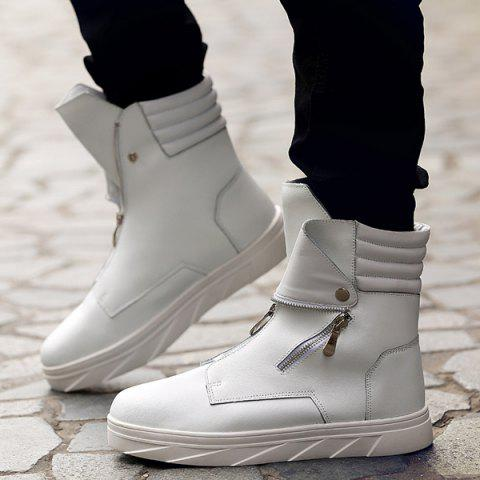 Chic Snap Double Zipper Stitching Casual Shoes - 44 WHITE Mobile