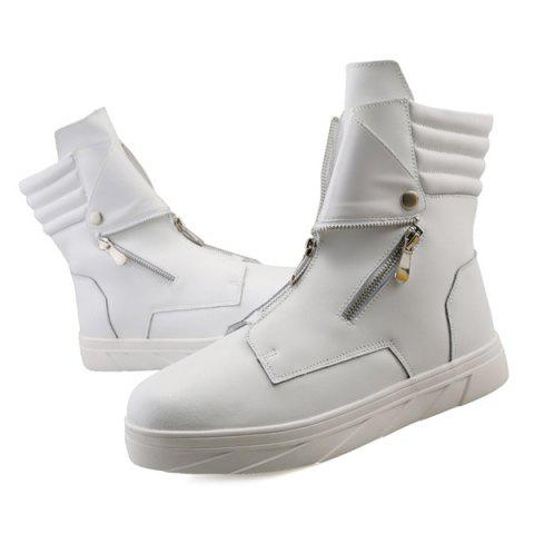 Fancy Snap Double Zipper Stitching Casual Shoes - 42 WHITE Mobile