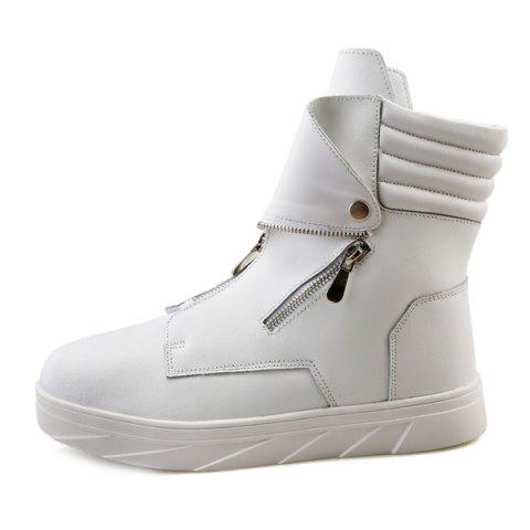 Shops Snap Double Zipper Stitching Casual Shoes - 40 WHITE Mobile