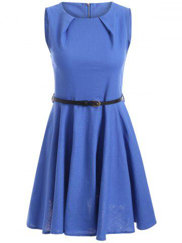 Sale Sleeveless Solid Color Flare Dress