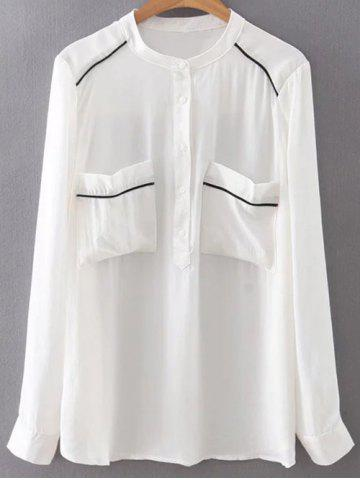 Store Stand Neck Long Sleeve Double Pockets Chiffon Shirt WHITE L