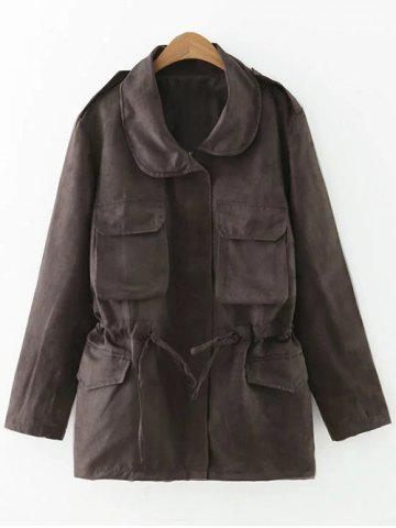 Affordable Turn-Down Collar Long Sleeve Drawstring Faux Suede Trench Coat