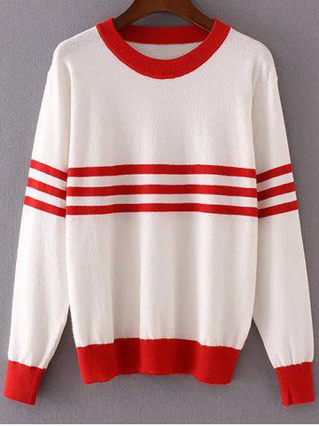 Outfit Round Neck Long Sleeve Striped Color Block Sweater